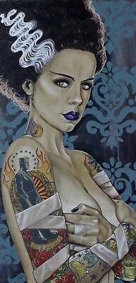 "3"" Goth Tattoo Woman Horror Movie Bride Frankenstein Blue Lipstick Cool (Cat Bin Woman)"
