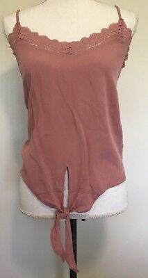 American Rag Front Tie Tank Top Juniors Size Medium Pink Lace Trim Shirt V Neck ()