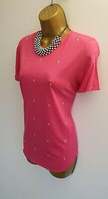 Kersh BNWT Hot Pink Embellished Rhinestone Smart T-shirts Top Blouse M 12