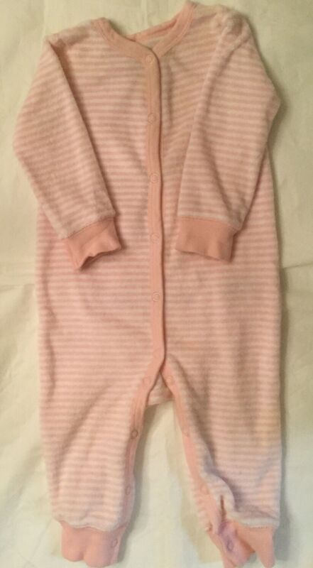 Carter's 9 Month Girl Sleep & Play, Pink & Stripe Cotton Terrycloth 6 Snap Front