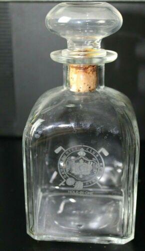Vintage OAHU Country Club Honolulu Hawaii Glass Liquor Decanter Golf Trophy