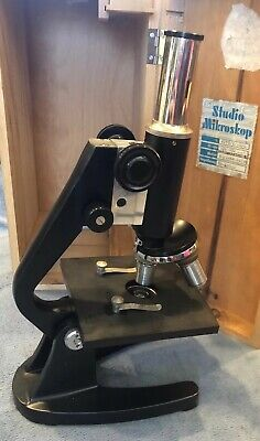Vintage Microscope With Original Wooden Box- 3 Objectives Bausch Lomb