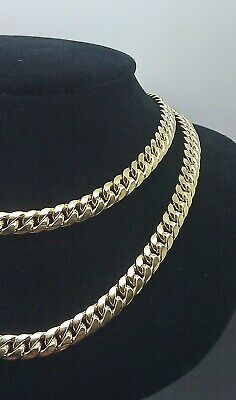 Real Genuine 10K Yellow Gold Cuban Link Chain Necklace 6mm 26 inch,Box clasp  - 10k 6mm Box