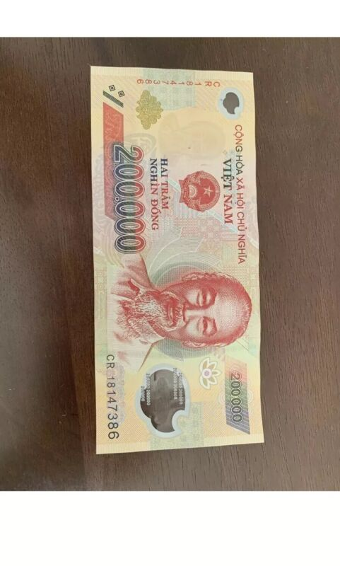 200,000 Vietnamese Dong (1) Single Banknote VND Vietnam, Cir Condition, 200000
