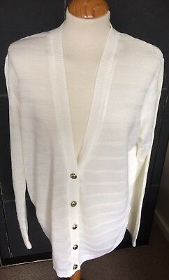 VINTAGE 70s/80s WHITE CARDIGAN GOLD BUTTON FRONT L