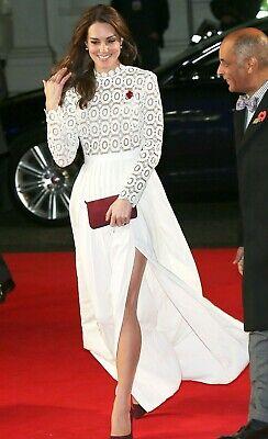 Self Portrait Pleated Crochet Lace Royal Wedding Maxi Long Dress Gown UK 8 US 4