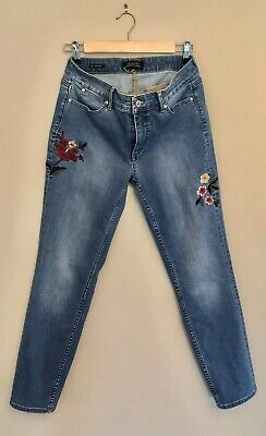 Five Flower (Talbots Flawless Five-Pocket Slim Ankle Jeans SZ 4 Embroidered Flower Detail Euc)