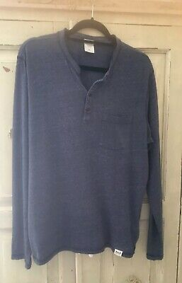 Abercrombie and Fitch Mens Grandad Style Dark Blue Long Sleeve Top Size M