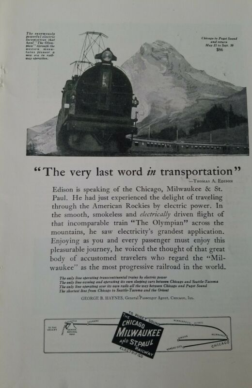 1923 the Chicago Milwaukee and St. Paul Railway railroad train vintage ad