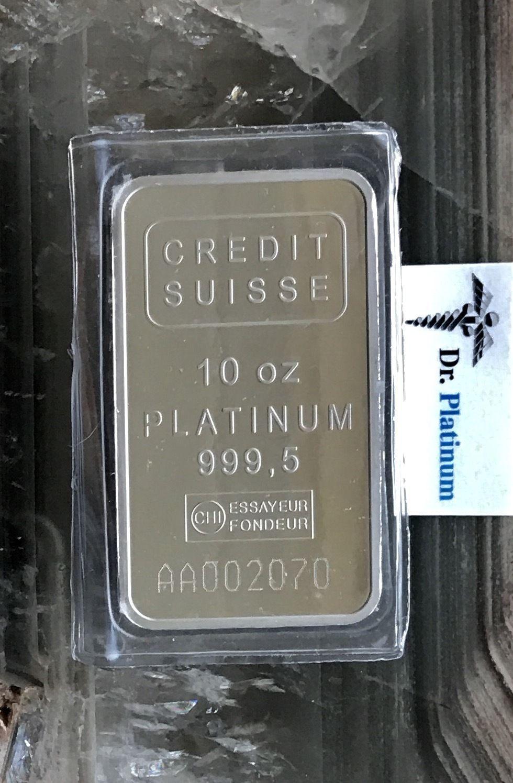 Credit Suisse with Assay Certificate, 10 oz 999.5 Platinum Bar