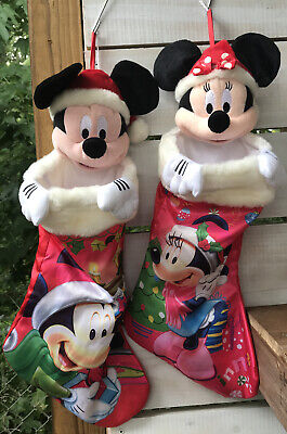 2010 DISNEY Collector Minnie & Mickey Mouse Poly Plush 3D Christmas Stockings