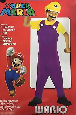 Super Mario Wario Childs Halloween Costume Dress Up Boy Small Medium Large - Super Mario Dress Up Kostüm