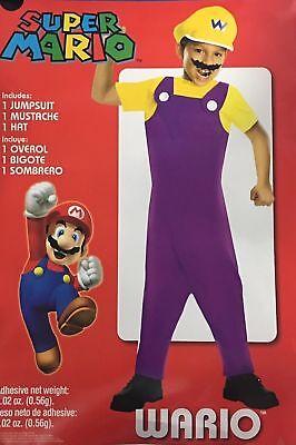 Super Mario Wario Childs Halloween Costume Dress Up Boys Small Medium