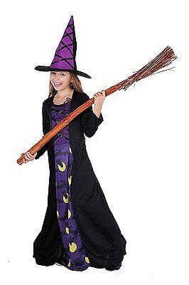 Schicke Eulenhexe - elegantes komplettes Hexenkostüm für Kinder Halloween 98784