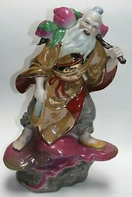20th Cent Chinese Happy Smiling Traveler Ceramic Figurine #147 Cleaned Repaired
