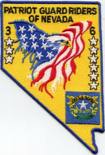 PATRIOT GUARD RIDERS OF NEVADA NV State Shape Shaped MILITARY POLICE PATCH