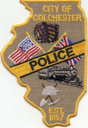 COLCHESTER ILLINOIS IL State Shape Shaped TRAIN POLICE PATCH