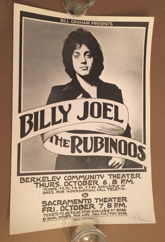 Billy Joel Poster 1977 Tuten Signed 1st Print Rubinoos Graham Vintage Berkeley