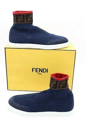 NIB Fendi Mens Blue Logo Wool Sock Sneakers New 13 US New $690