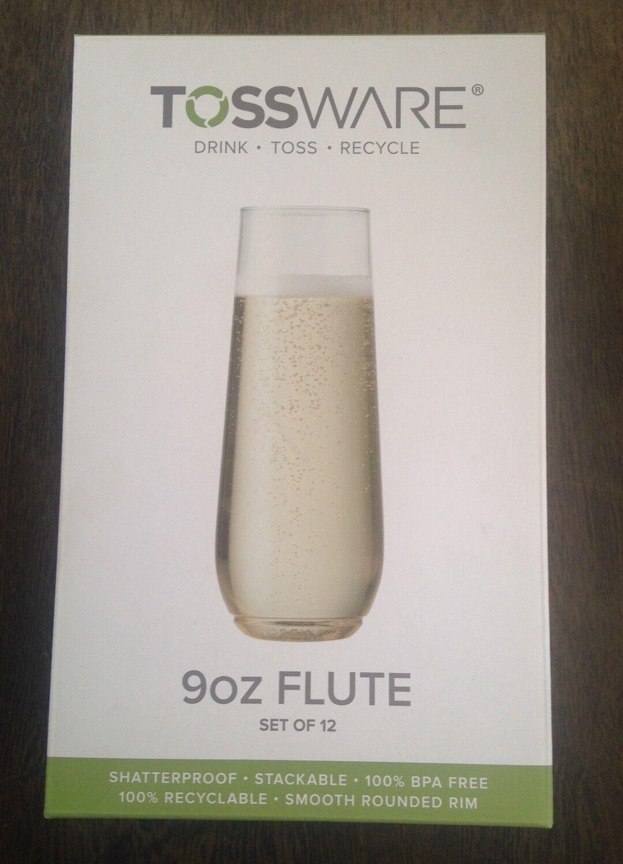 TOSSWARE 9oz Flute - recyclable champagne plastic cups, 3 se