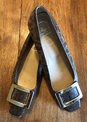 Roger Vivier Shoes Loafers Flats Taupe Beige Lizard Snake Leather Buckle 6 1/2