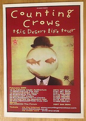 Counting Crows  - Rare UK gig poster, Feb/March 2000 This Desert Life Tour