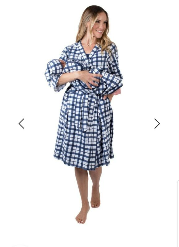 Blue Gingham Delivery Robe And Swaddle Blanket Set