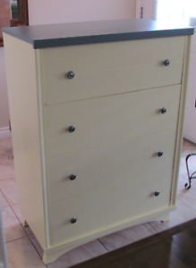 Solid wood light yellow with grey top dresser