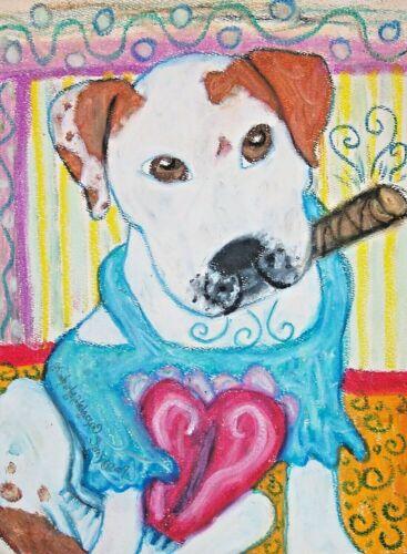 AMERICAN BULLDOG Smoking a Cigar Pop Art Print 5x7 Dog Collectible Artist KSams