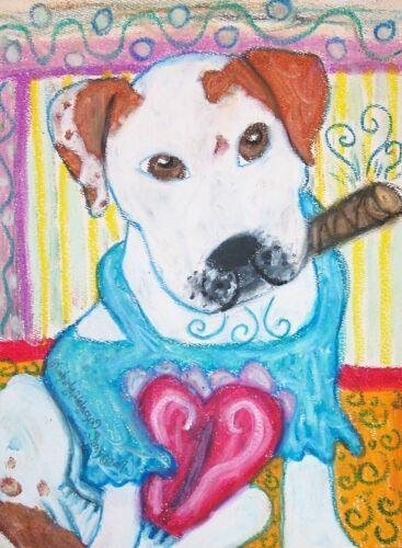 American Bulldog Collectible Dog Art Giclee Print 4x6 Artist KSams Cigar Fashion