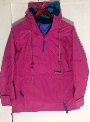 Vintage Columbia Women's Size S Pullover Jacket Hot Pink Green Purple Hoodie - Green Pullover Hot Jacket