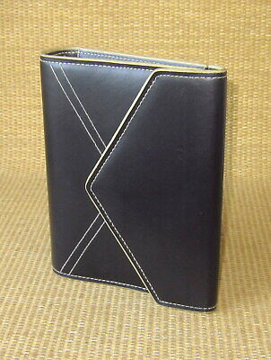 Compact Franklin Covey Black Sim. Leather 1 Rings Open Plannerbinder Clutch