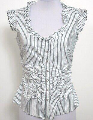 ETCETERA COTTON WHITE STRIPED CAP SLEEVE SHIRT BLOUSE sizes 0 2 10 NEW -
