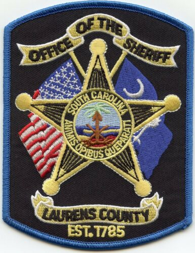 LAURENS COUNTY SOUTH CAROLINA SC Blue Border SHERIFF POLICE PATCH