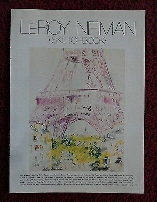 1981 Magazine Article / Art Page Leroy Neiman ~ The Eiffel Tower Paris France
