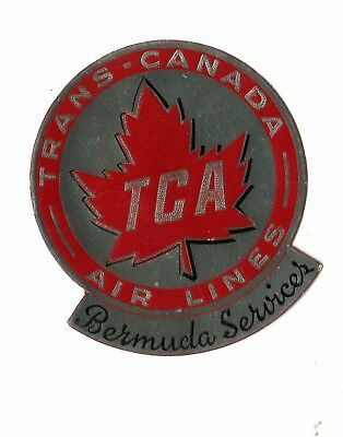 Vintage Airline Luggage Label Trans Canada Air Lines Tca Bermuda Services