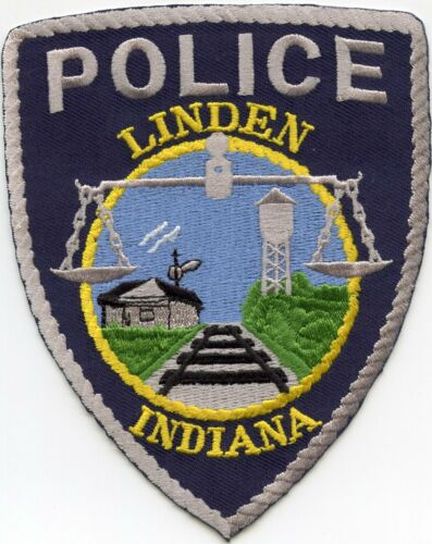 LINDEN INDIANA IN Railroad Train Tracks POLICE PATCH