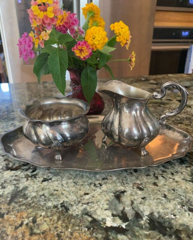 Vintage Silver Plated Sugar & Creamer With Tray Set