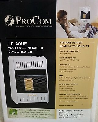 ProCom ML060HPA Ventless Propane Gas Single Plaque Wall Heater, 6,000 BTU ()