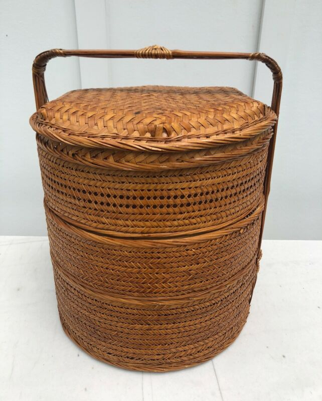 Antique Chinese 3 Tiered Round Woven Rattan Wedding,  Storage Basket w/ Handle
