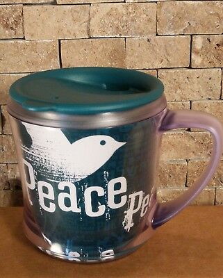 STARBUCKS Peace Dove Travel Mug With Lid 2004 12oz Teal Green Plastic Cup GUC