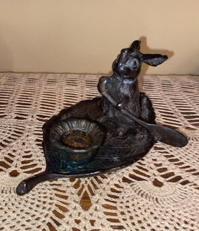 Vintage Bronze Rabbit Rowing On Leaf Boat Candle Stick Holder Metal Patina