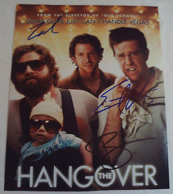The Hangover Autographed Photo Bradley Cooper Zach Galifianakis Helms Autograph