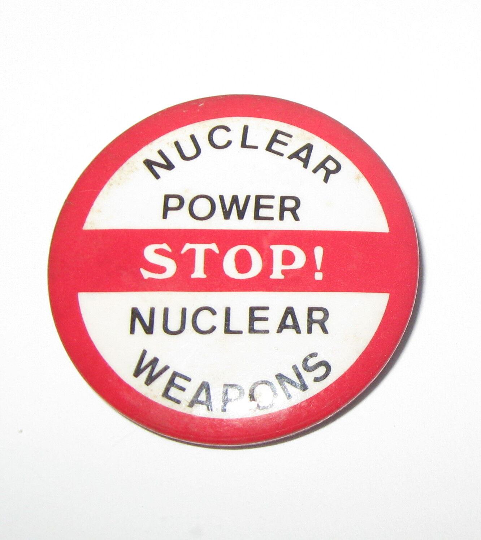 "ANTI NUKE, PROTEST, Button, ""STOP NUCLEAR POWER/WEAPONS"" 1978 ORIGINAL, UNION"