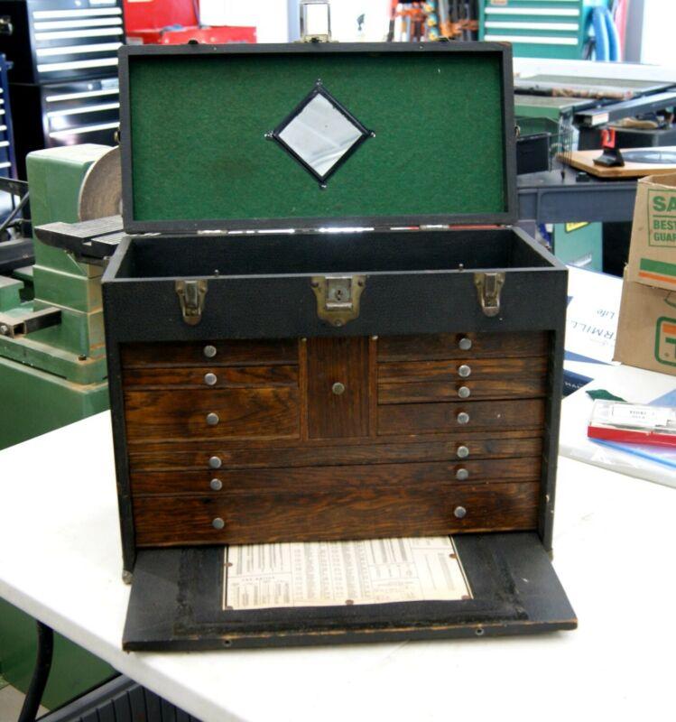 Antique Gerstner 11 Drawer Leather/Oak Machinist Tool Chest Cabinet, L-3217