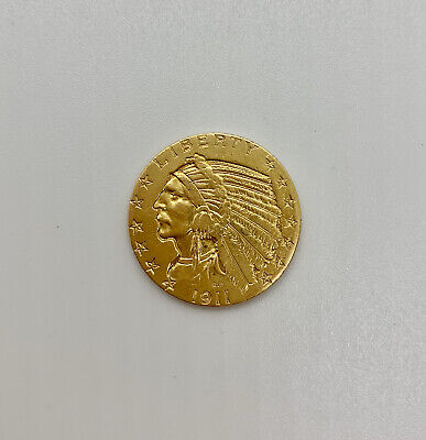 1911 $5 Dollar Gold Half Eagle Indian Head Indian Head Half Eagle