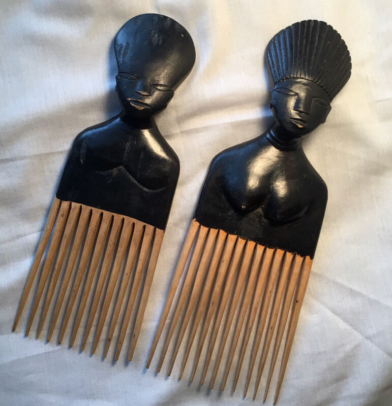 Set 2 Vintage 90's Carved Wood African Figure Hair Pick Male & Female Preowned