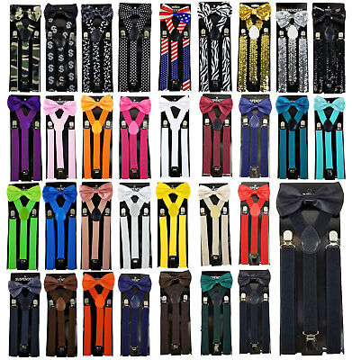 Suspender & Bow Tie Set for Adults Men Women Teens (For Adults)