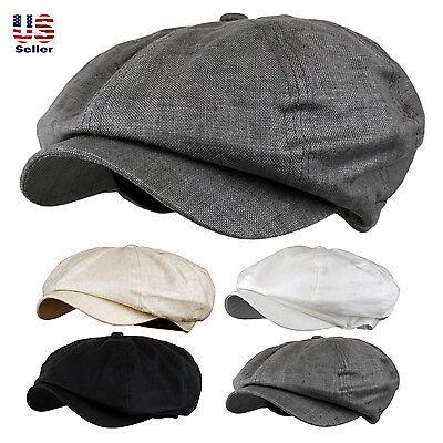 Classic Men's Linen 8 Panel Applejack Gatsby Newsboy Ivy Hat Spring Summer Goft