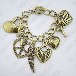 Vintage Gold Chain Womens Bracelet with Heart Cross Wing Charms Bangle Cuff -NEW